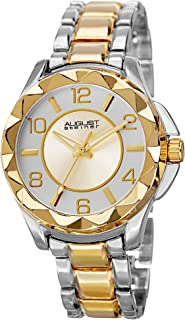 August Steiner Women's Funky Bezel Fashion Watch - Sunburst Dial with Big Number Hour Markers on Two Tone Yellow Gold and Silver Stainless Steel Bracelet - AS8159
