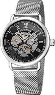 FORSINING Men's Casual Skeleton Analogue Mechanical Hand-Wind Watch with Stainless Steel Bracelet