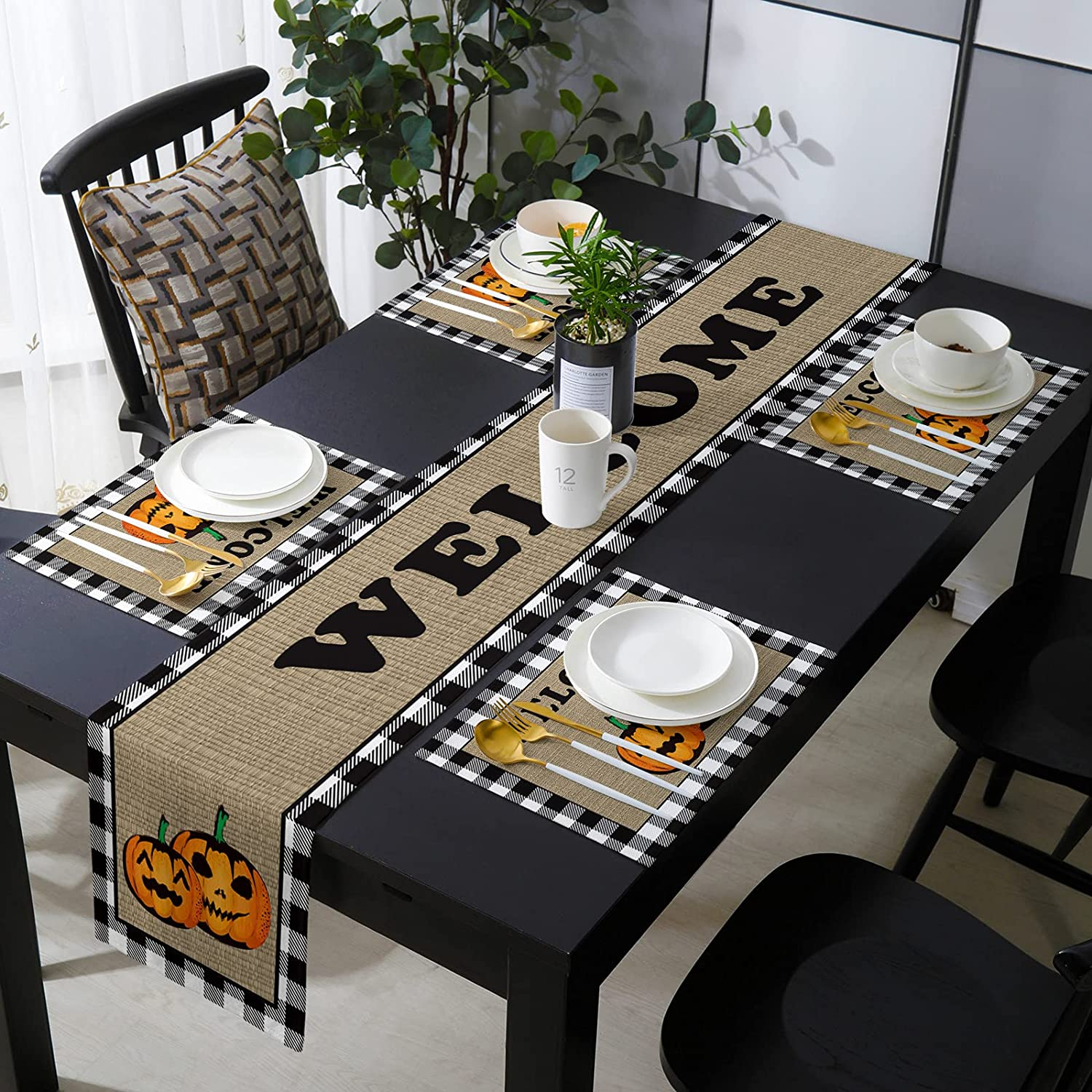 OneHoney Halloween Pumpkins Table Runner 6 Placemats Set Be super welcome Chicago Mall of and