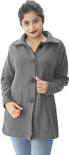 HAUTEMODA Women's Woollen Buttoned Coat/Cardigan with Pockets (Ad04Caz11Dgy_Dark Grey)
