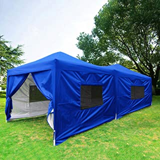 Quictent Privacy 10x20 ft EZ Pop Up Canopy Tent Party Tent Outdoor Event Gazebo with Sidewalls & Roller Bag Waterproof-6 Colors (Royal Blue)