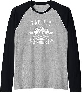 Pacific Northwest PNW Trees Mountain Arrows Raglan Baseball Tee