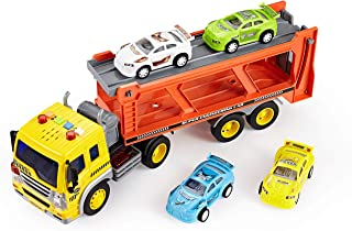 Think Gizmos Friction Toys for Boys & Girls - Toy Trucks for Toddlers (Transporter Truck)