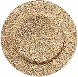 ALEX Fashionable 13 Inch Round Gold Glitter Charger Plate For Wedding Decoration For All Holiday 6-PACK