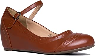 J. Adams Minnie Mary Jane - Retro Round Toe Ankle Strap Wedge - Vintage Oxford