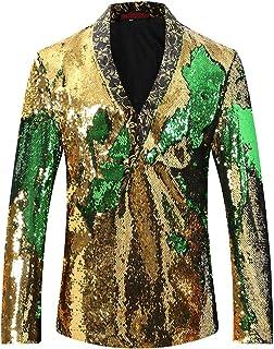 Allthemen Men's Luxury Casual Blazer Single Breasted One Button Suits Jacket Shining Blazer Prom Halloween Jacket