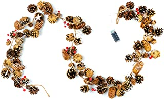 CraftMore Pine Cone Garland with Pine and Lights 72