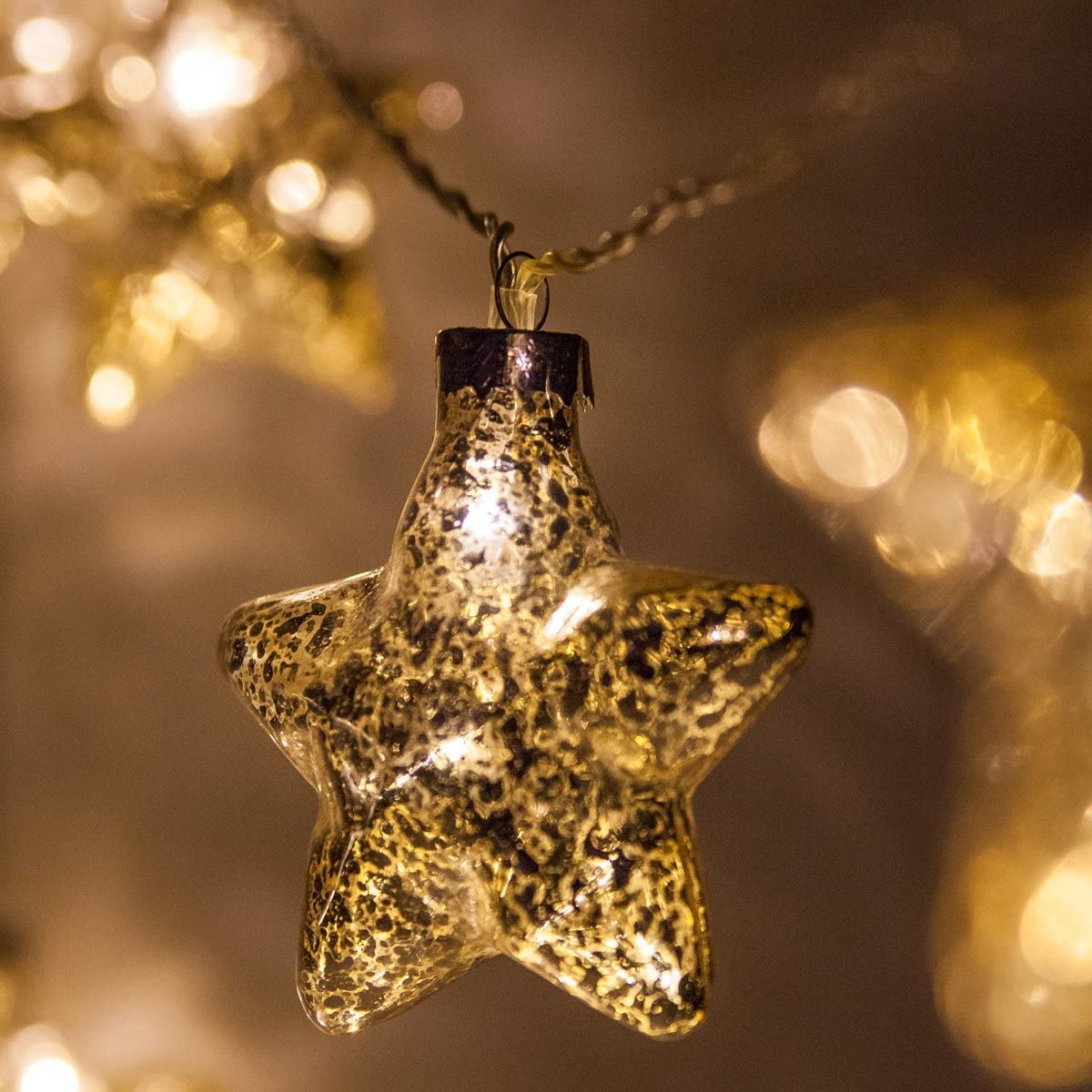 12' Mercury Glass Gold Star Lights/Gold Glass Pinecone String Lights –  Wedding Decorations for Party, LED Lights String, Battery Operated, 12 Warm  ...