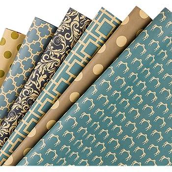 RUSPEPA Reversible Kraft Wrapping Paper Sheet - Navy Geometric Design Kraft Paper - 6 Sheets Packed as 1 roll - 17.5 x 30 inches per Sheet