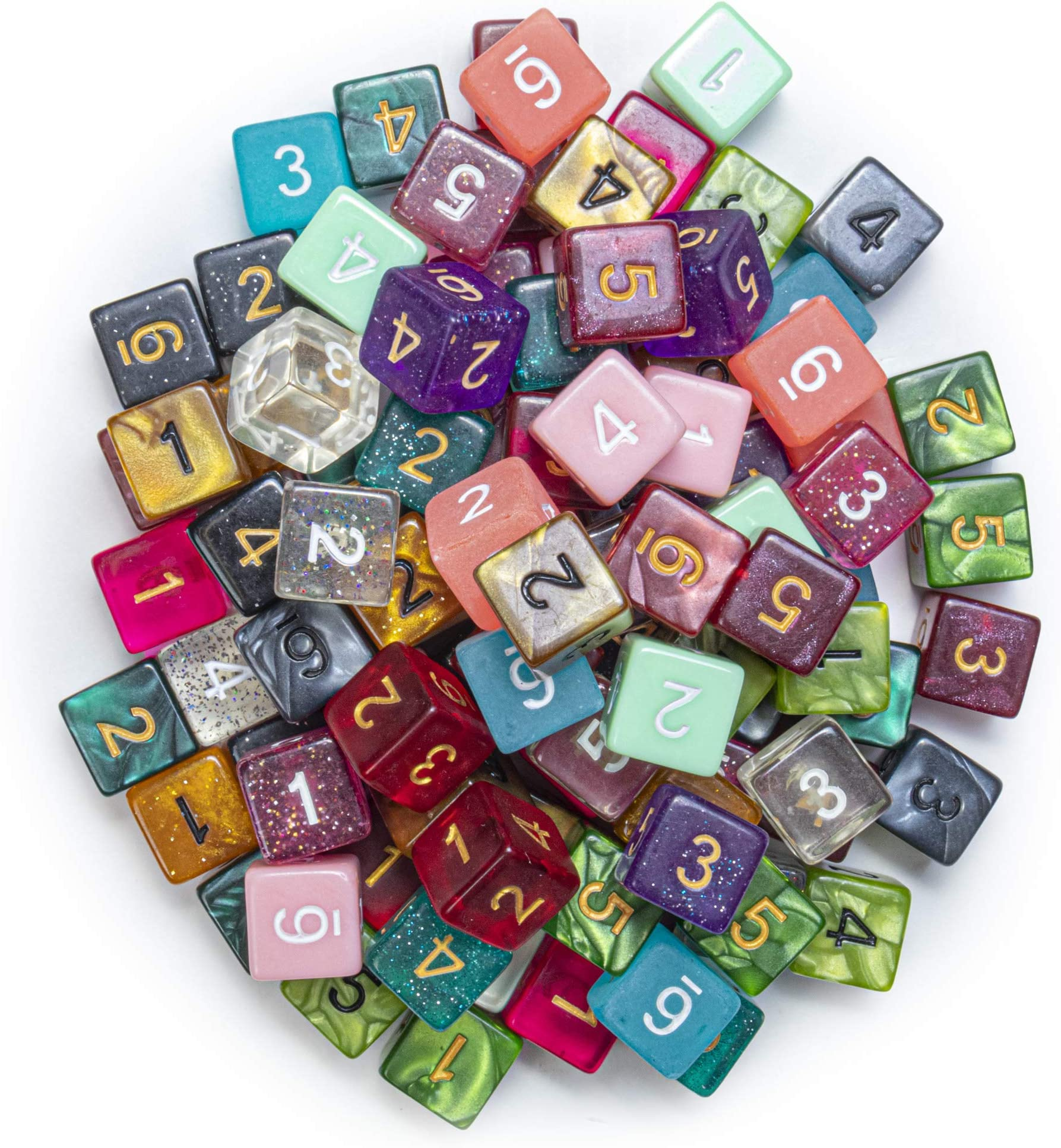 Wiz Dice 100+ Pack of Random D6 Polyhedral Dice in Multiple Colors