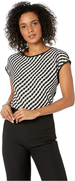 Petite Cap Sleeve Clean Simple Stripe Blouse