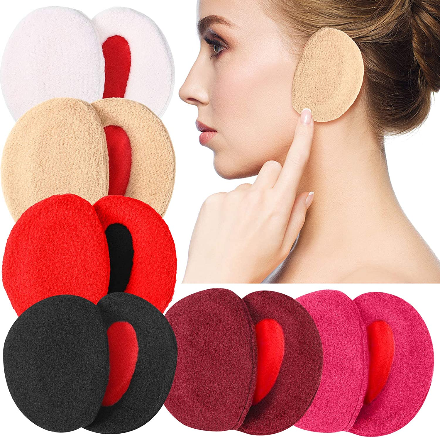 6 Colors 6 Pairs Earmuffs Bandless Fleece Ear Warmers Winter Ear Covers Unisex
