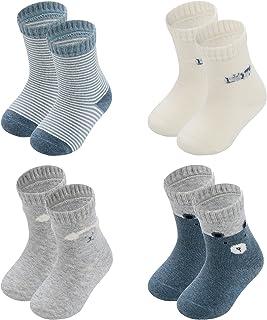 Sponsored Ad - Human feelings Baby 4 PACK 0-3months Ankle Cutecotton infant socks tube organic for gift set Newborn socks,...