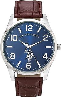 U.S. Polo Assn. Men's Quartz Watch with Patent Leather Strap, Brown, 16 (Model: USC50570AZ)