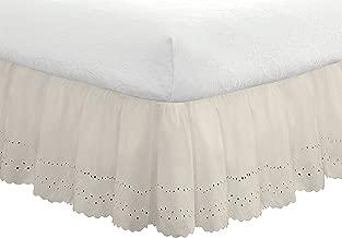 """Fresh Ideas Bedding Eyelet Ruffled Bedskirt, Classic 14"""" drop length, Gathered Styling, Full, Ivory"""