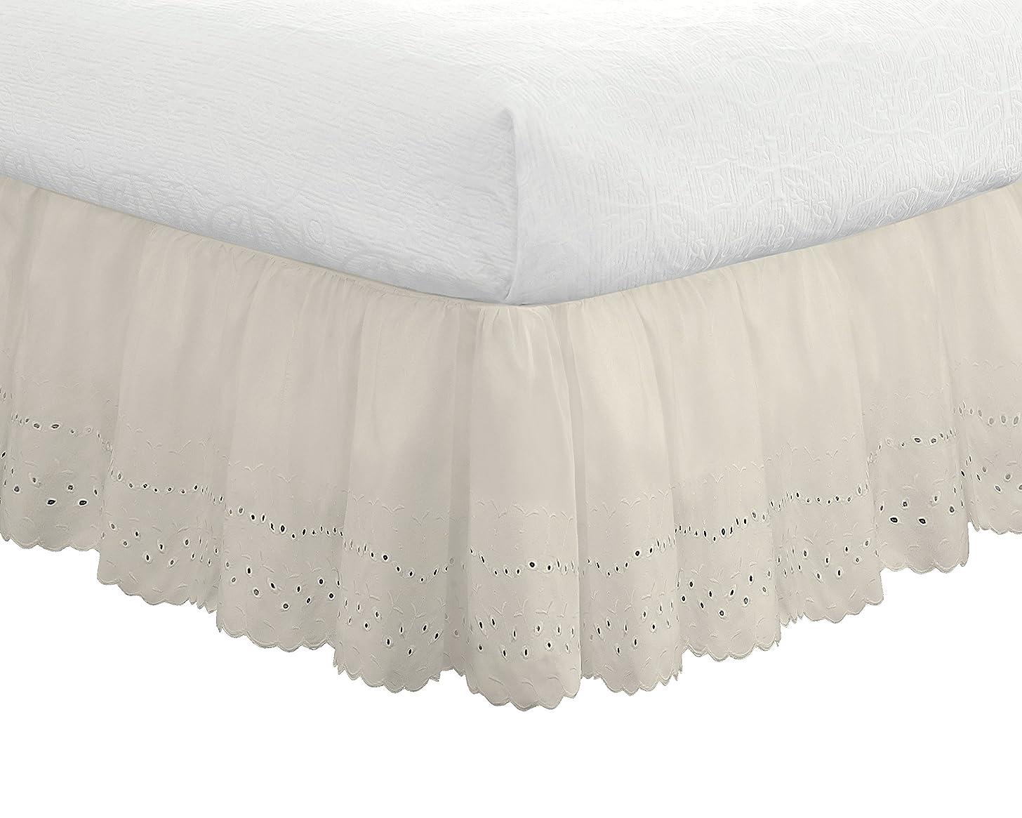 """Eyelet Ruffled Bedskirt – Ruffled Bedding with Gathered Styling –14"""" Drop, Twin, Bone Ivory"""