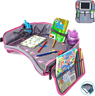 Moditty | Kids Travel Tray Bundle with Back Seat Car Organizer | Activity Play Table for Toddlers in Car Seats, Airplanes, Strollers (Pink)