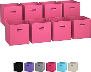 Royexe Storage Bins - Set of 8 - Storage Cubes   Foldable Fabric Cube Baskets Features Dual Plastic Handles. Cube Storage Bins. Closet Shelf Organizer   Collapsible Nursery Drawer Organizers (Pink)