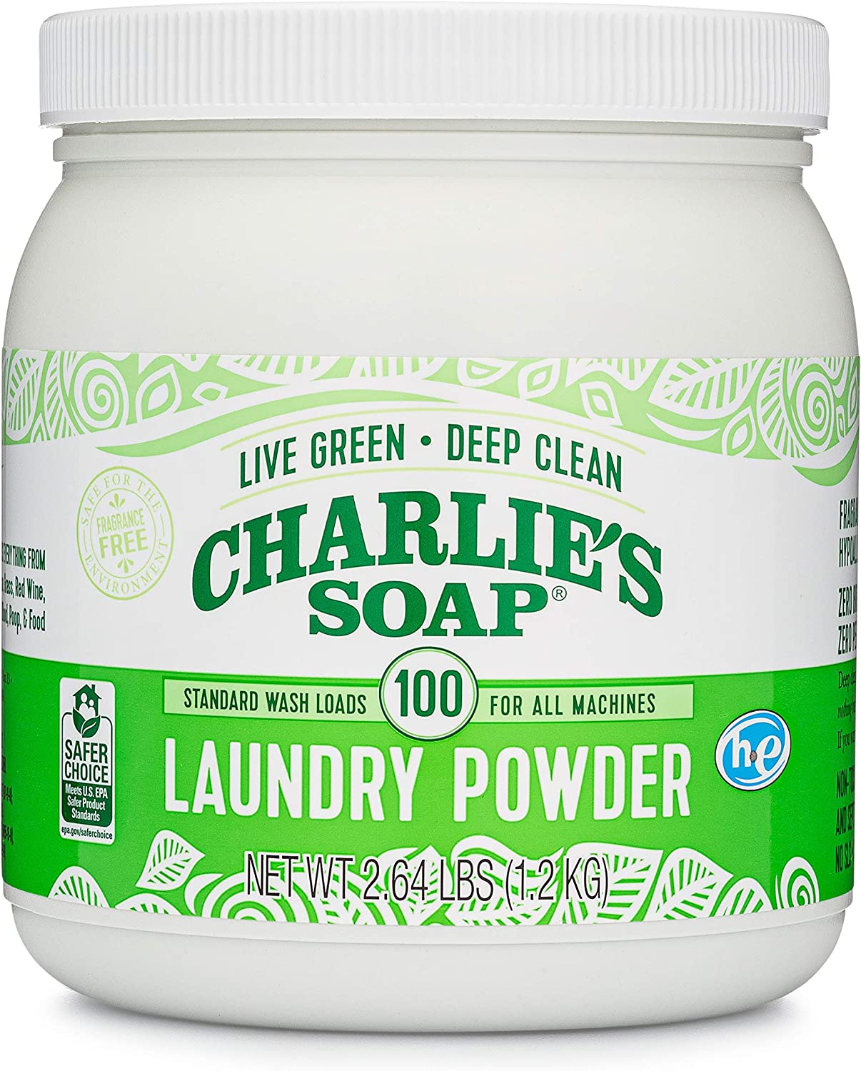 Charlie's Soap Laundry Powder 100 Load - Jar High quality new Refillable Eco-Frie High material
