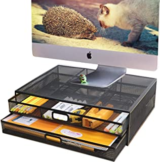 Monitor Stand Riser with Drawer - Metal Mesh Laptop Desk Organizer with Dual Pull Out Storage Drawer,Office Supply for Com...
