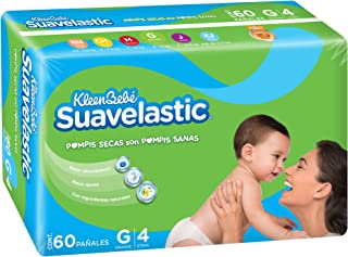 KleenBebé Pañal Desechable para Bebé Suavelastic, Unisex, Grande, 60 Piezas
