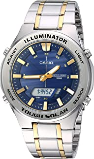Casio Men`s Tough Solar Quartz Watch with Stainless-Steel Strap, Two Tone, 23.8 (Model: AMW-S850SG-2AVCF)