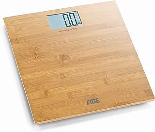 ADE Báscula de baño digital Martina BE925. Balanza personal electrónica hecha en 100% Bambu. Capacidad hasta 150kg. Pantalla LCD. Incluye baterías. Color Madera