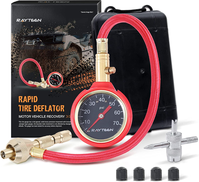 RAYTEEN Rapid Max 84% Max 57% OFF OFF Tire Deflator 10-70PSI with Gauge Pressure