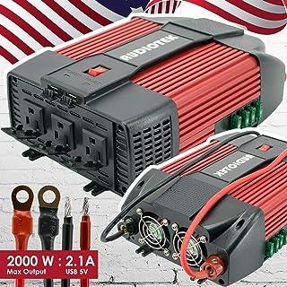 Audiotek - Inversor de corriente de 2000 W, CC 12 V CA, 110 V, cargador de puerto USB