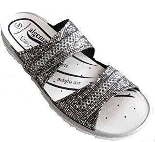 Algemare Women's Leather Clogs and Mules EU 38/ UK 5 Silver
