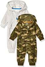 Amazon Essentials Boy's Baby 2-Pack Microfleece Hooded Coverall