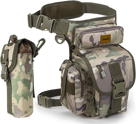 Jueachy Bolsa de Cintura Multifuncional para la Pierna, táctica, Militar, para Pesca, para Motociclismo, Senderismo, (Camouflage)