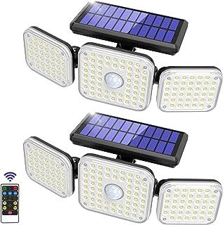 Solar Light Outdoor, 132 LED Motion Sensor Security Flood Lights 3 Adjustable Heads 3 Modes with Remote Control 270° Wide ...