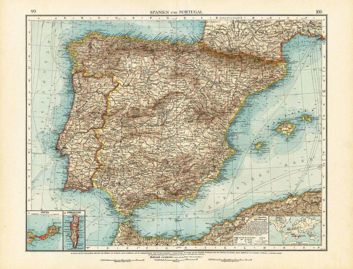 ThePrintsCollector de mapamundi antiguo-España-Portugal-Gibraltar-Ceuta-Europe-andree-1904: Amazon.es: Hogar