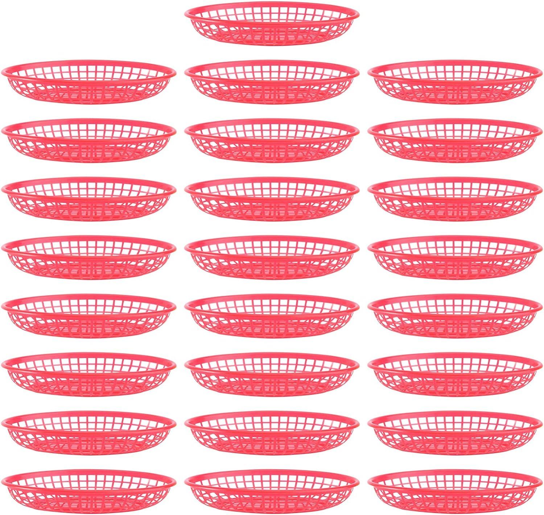 YARNOW 32 Unidades de Cesta de Comida Rápida de Estilo Retro Cesta de Restaurante de Plástico Ovalado Bandeja de Pan Hamburguesa Patatas Fritas Bandeja para Fiesta Picnic Barbacoa