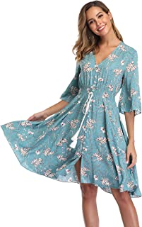 VintageClothing Women's Floral Sundresses Flowy Boho Summer Beach Dress Button Up