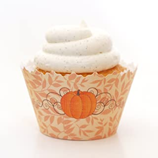 Cupcake Wrappers Autumn/Fall and Halloween Designs - Set of 12 (Fall Pumpkin Patch ADJUSTABLE cupcake wrapper)
