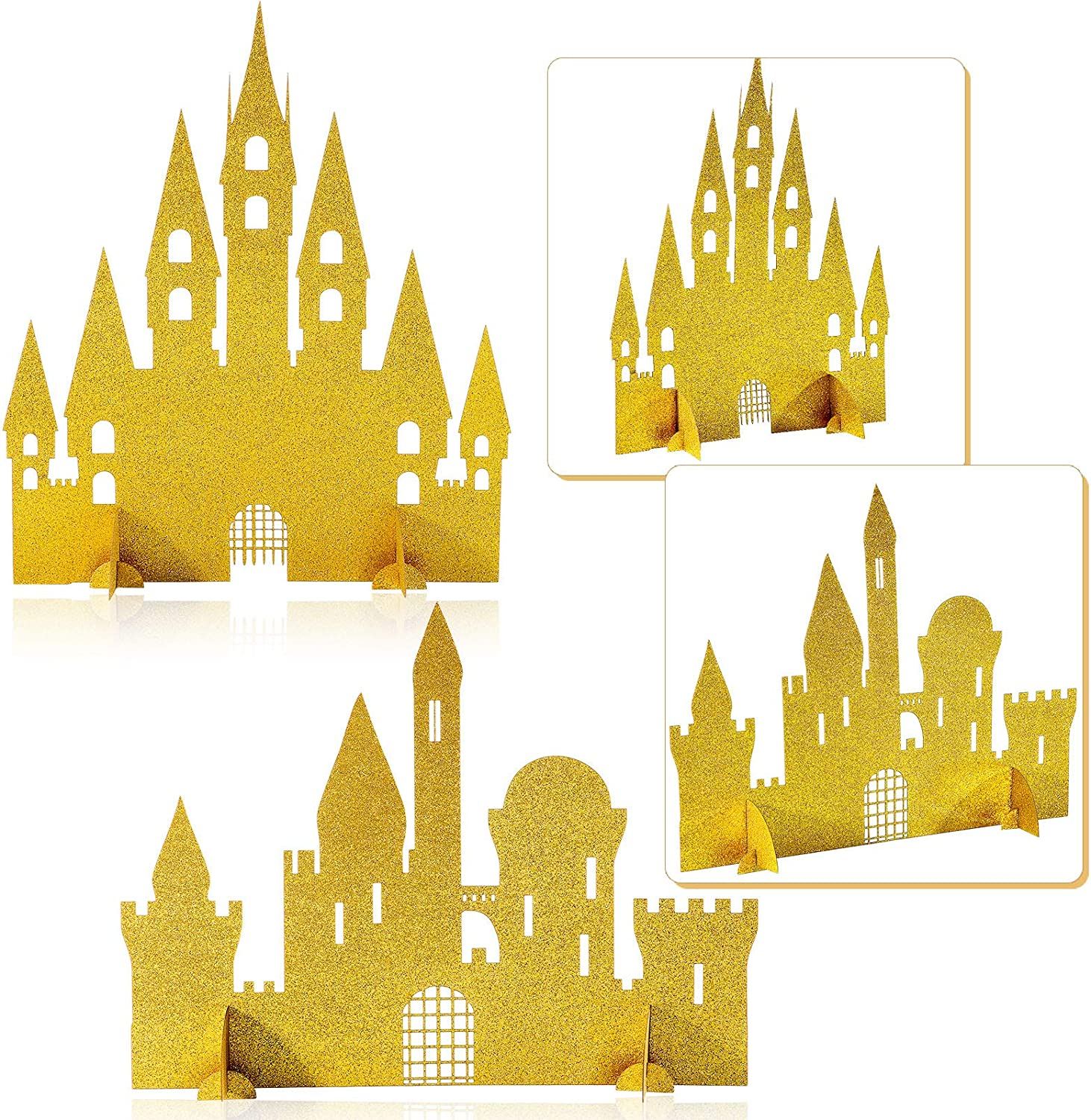 2 Pieces Gold Castle Table San Diego Mall C Princess Centerpiece At the price Glitter