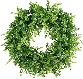 TINGOR 16'' Artificial Leaf Wreath, Fern Green Round Wreath for Front Door Wall Window Party Décor