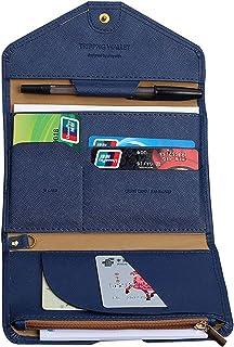 AUMA Multi-purpse Travel Passport Wallet, Tri-fold Card Cover Case Holder, Dark Blue