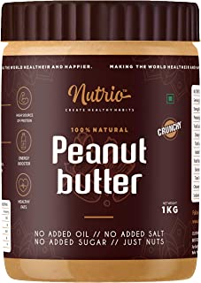 Nutrio 100% Natural Peanut Butter Unsweetened 1KG (Crunchy) || Made with 100% Roasted Peanuts | No Added Sugar | No Added ...