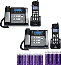 RCA 25424RE1 4-Line Expandable Phone System - Office Desk Telephones with Intercom (2-Pack) Bundle with RCA H5401RE1 DECT 6.0 Cordless Handsets (2-Pack), Blucoil 4 AA Batteries, and 8 AAA Batteries