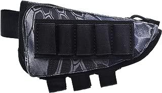 Risunpet Buttstock Ammo Holder Pouch Tactical Shell Holder for Shotgun Rifle Cheek Rest Pouch(Snake Black)