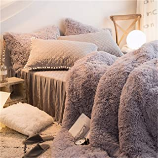 MooWoo 1 PCS Super Soft Shaggy Plush Flannel Duvet Cover, Faux Fur Plush Bedding Set, Zipper Close and Ties, No Inside Filler (Grey, Queen)