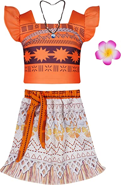 Girls Adventure Outfit Skirt Princess Moan Costume Skirt Set Two-Piece Cosplay Dress Up with Necklace and Flower Haircli