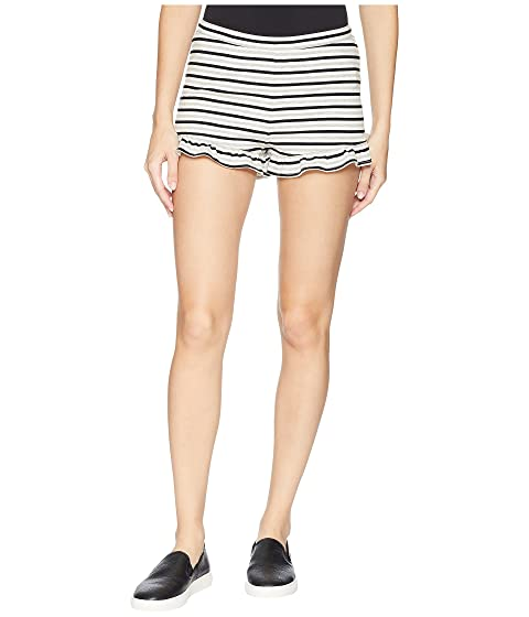 Comfy Queen Striped High-Waisted Ruffle Shorts, Ivory