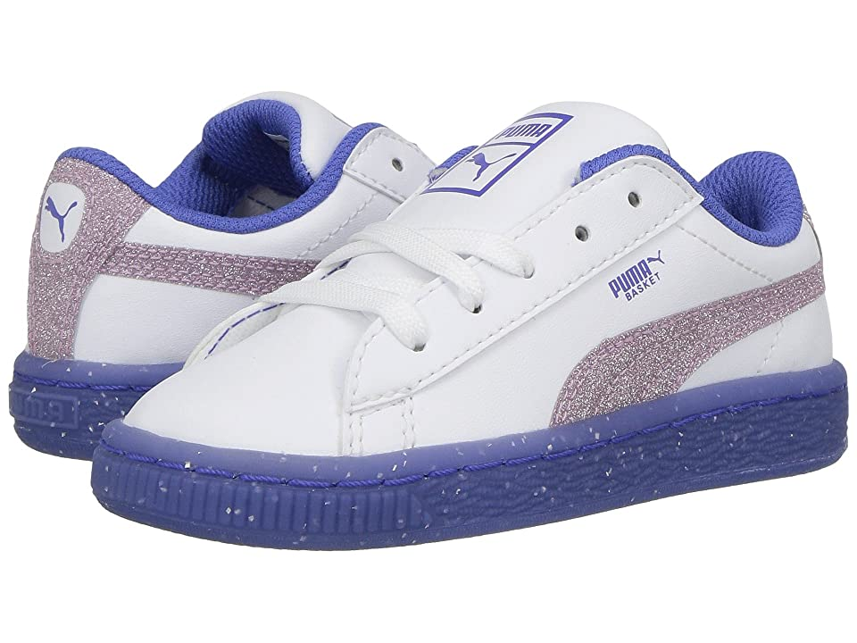 Puma Kids Basket Ice Glitter 2 (Toddler) (Puma White/Smoky Grape) Girls Shoes