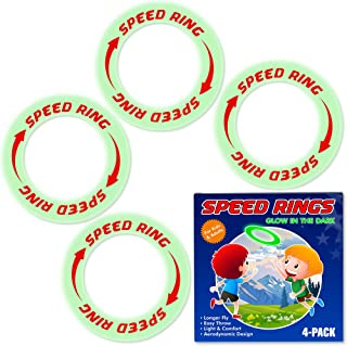 Flying Rings Flying Disc - Glow in The Dark, 4 Pack, Outdoor Sports Game Toys for Kids Adult, Healthy Activities for Family