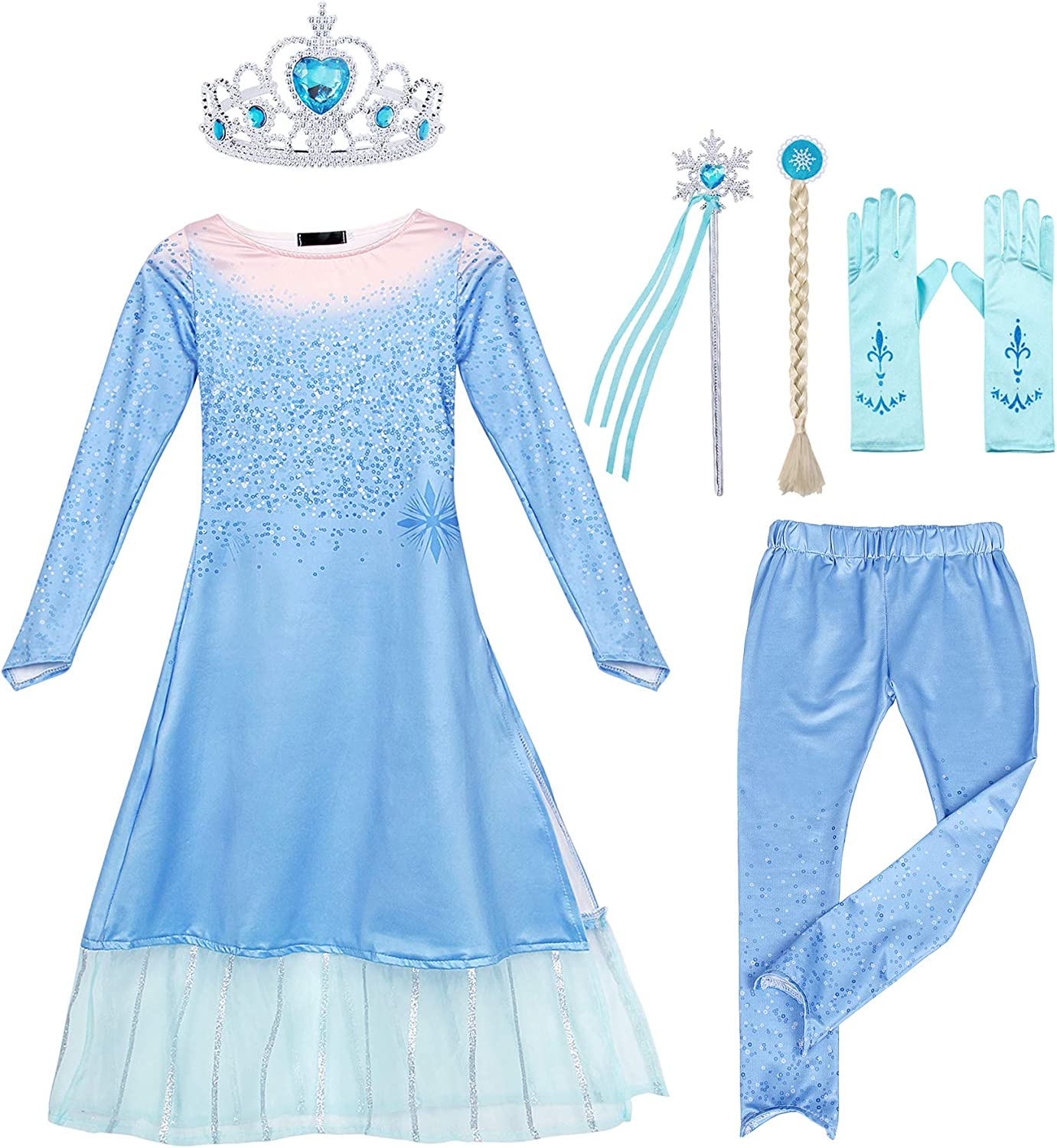 AmzBarley Princess Outfits Set for Girls Birthday Party Dress Up Halloween Costume 2-Pieces Winter Clothes with Accessories