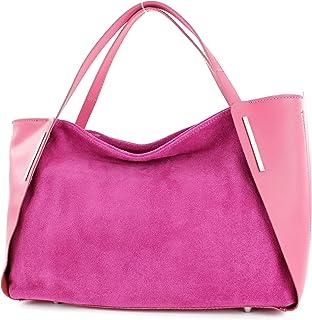 modamoda de - T126 - ital. Shopper Tragetasche Leder/Wildleder, Farbe:Pink